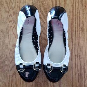 Tahari Gloria Black and White Ballerina Shoes